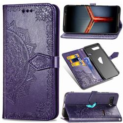 Embossing Imprint Mandala Flower Leather Wallet Case for Asus ROG Phone 2 ZS660K - Purple