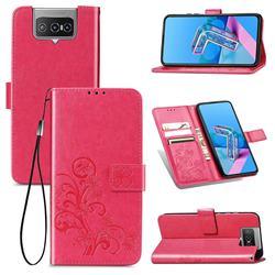 Embossing Imprint Four-Leaf Clover Leather Wallet Case for Asus Zenfone 7 ZS670KS / 7 Pro ZS671KS - Rose Red