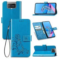 Embossing Imprint Four-Leaf Clover Leather Wallet Case for Asus Zenfone 7 ZS670KS / 7 Pro ZS671KS - Blue