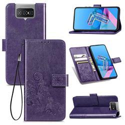 Embossing Imprint Four-Leaf Clover Leather Wallet Case for Asus Zenfone 7 ZS670KS / 7 Pro ZS671KS - Purple