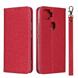 Ultra Slim Magnetic Automatic Suction Silk Lanyard Leather Flip Cover for ZTE A1 ZTG01 5G - Red