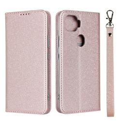 Ultra Slim Magnetic Automatic Suction Silk Lanyard Leather Flip Cover for ZTE A1 ZTG01 5G - Rose Gold
