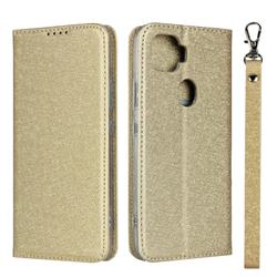 Ultra Slim Magnetic Automatic Suction Silk Lanyard Leather Flip Cover for ZTE A1 ZTG01 5G - Golden