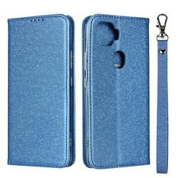 Ultra Slim Magnetic Automatic Suction Silk Lanyard Leather Flip Cover for ZTE A1 ZTG01 5G - Sky Blue