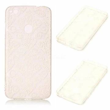 White Lace Flowers Super Clear Soft TPU Back Cover for Huawei P8 Lite 2017 / P9 Honor 8 Nova Lite