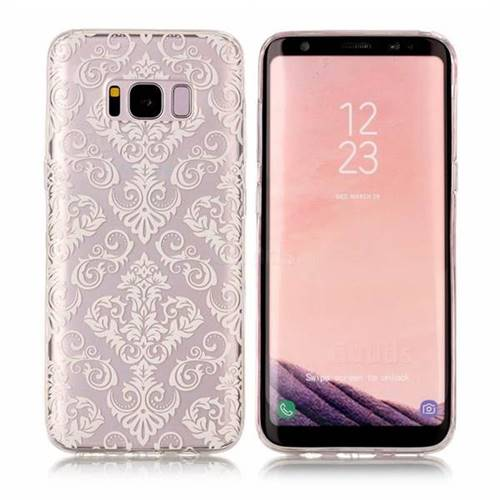 White Lace Flowers Super Clear Soft TPU Back Cover for Samsung Galaxy S8