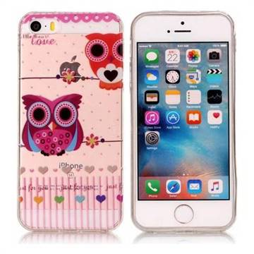 Owls Flower Super Clear Soft TPU Back Cover for iPhone SE 5s 5