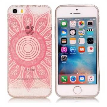 Pink Mandala Super Clear Soft TPU Back Cover for iPhone SE 5s 5