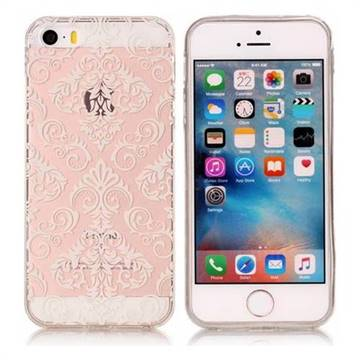 White Lace Flowers Super Clear Soft TPU Back Cover for iPhone SE 5s 5