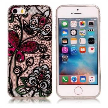 Butterfly Flowers Super Clear Soft TPU Back Cover for iPhone SE 5s 5