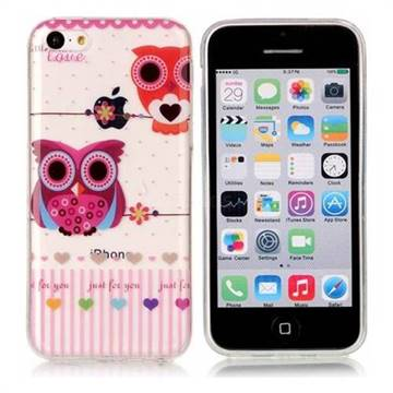 Owls Flower Super Clear Soft TPU Back Cover for iPhone 5c