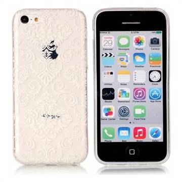 White Lace Flowers Super Clear Soft TPU Back Cover for iPhone 5c