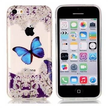 Blue Butterfly Flower Super Clear Soft TPU Back Cover for iPhone 5c