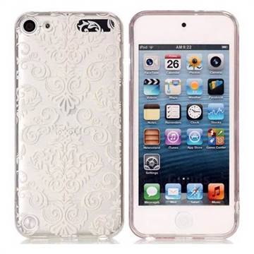 White Lace Flowers Super Clear Soft TPU Back Cover for iPod Touch 5 6