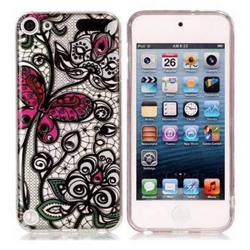 Butterfly Flowers Super Clear Soft TPU Back Cover for iPod Touch 5 6