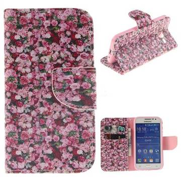 Intensive Floral PU Leather Wallet Case for Samsung Galaxy Core Prime G360