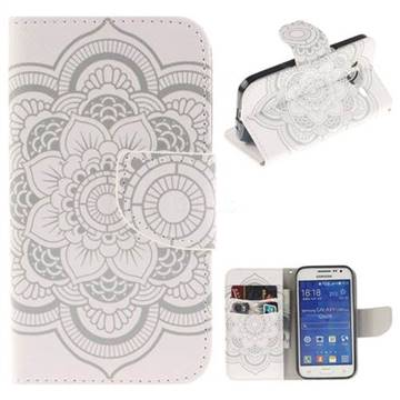 White Flowers PU Leather Wallet Case for Samsung Galaxy Core Prime G360