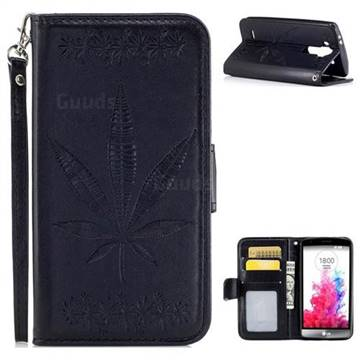 Intricate Embossing Maple Leather Wallet Case for LG G3 Beat Mini G3S D725 D722 D729 B2mini - Black
