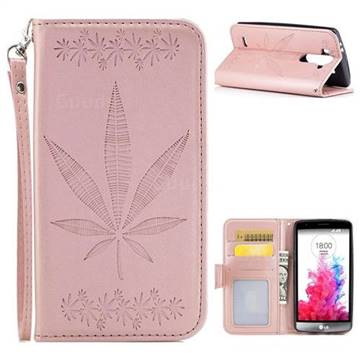 Intricate Embossing Maple Leather Wallet Case for LG G3 Beat Mini G3S D725 D722 D729 B2mini - Rose Gold