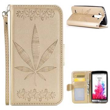 Intricate Embossing Maple Leather Wallet Case for LG G3 Beat Mini G3S D725 D722 D729 B2mini - Champagne