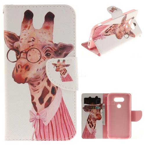 Pink Giraffe PU Leather Wallet Case for LG G5