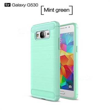 Luxury Carbon Fiber Brushed Wire Drawing Silicone TPU Back Cover for Samsung Galaxy Grand Prime G530 (Mint Green)