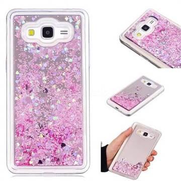 Glitter Sand Mirror Quicksand Dynamic Liquid Star TPU Case for Samsung Galaxy Grand Prime G530 - Cherry Pink