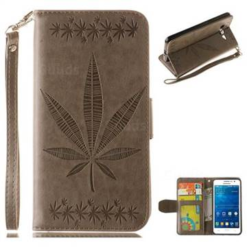 Intricate Embossing Maple Leather Wallet Case for Samsung Galaxy Grand Prime G530 - Gray