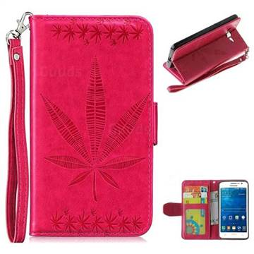 Intricate Embossing Maple Leather Wallet Case for Samsung Galaxy Grand Prime G530 - Rose