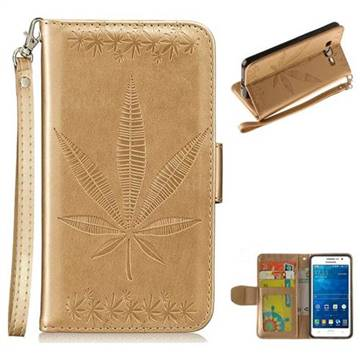 Intricate Embossing Maple Leather Wallet Case for Samsung Galaxy Grand Prime G530 - Champagne