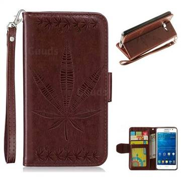 Intricate Embossing Maple Leather Wallet Case for Samsung Galaxy Grand Prime G530 - Brown