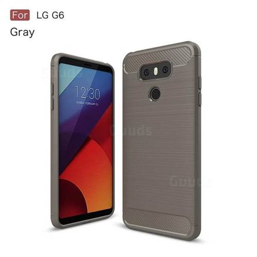 Luxury Carbon Fiber Brushed Wire Drawing Silicone TPU Back Cover for LG G6 (Gray)