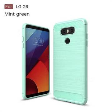 Luxury Carbon Fiber Brushed Wire Drawing Silicone TPU Back Cover for LG G6 (Mint Green)