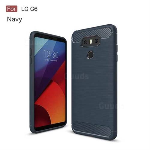 Luxury Carbon Fiber Brushed Wire Drawing Silicone TPU Back Cover for LG G6 (Navy)