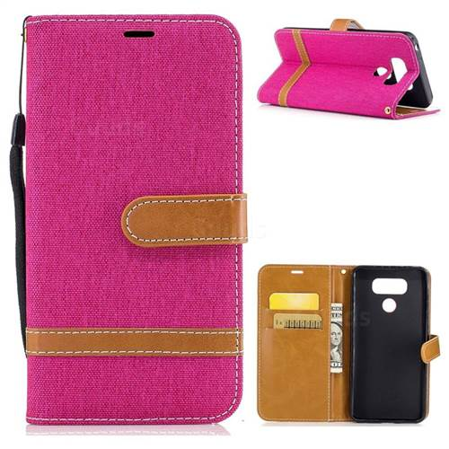 Jeans Cowboy Denim Leather Wallet Case for LG G6 - Rose