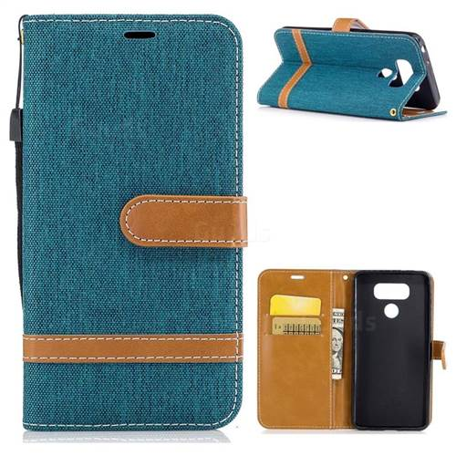 Jeans Cowboy Denim Leather Wallet Case for LG G6 - Green