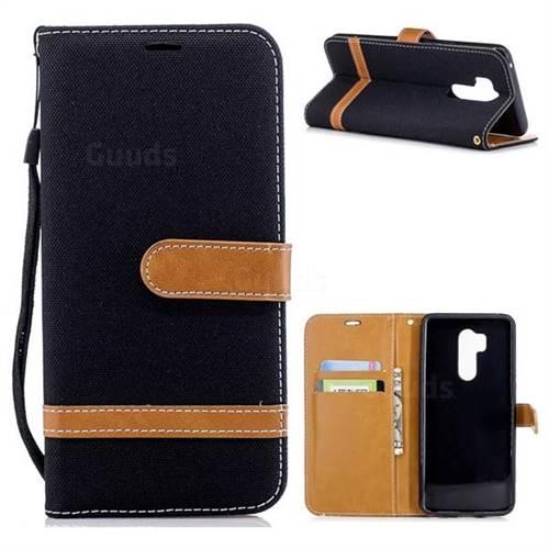 Jeans Cowboy Denim Leather Wallet Case for LG G7 ThinQ - Black