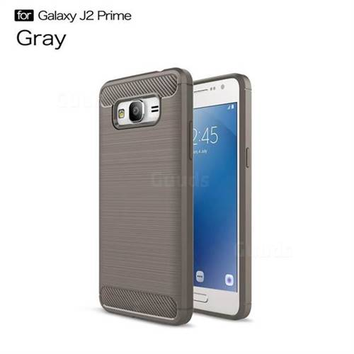 Luxury Carbon Fiber Brushed Wire Drawing Silicone TPU Back Cover for Samsung Galaxy J2 Prime G532 (Gray)