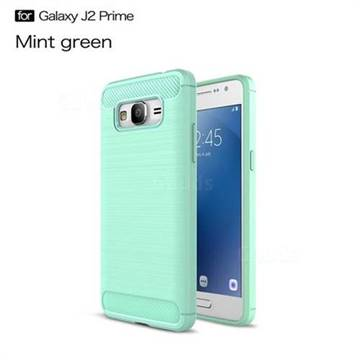 Luxury Carbon Fiber Brushed Wire Drawing Silicone TPU Back Cover for Samsung Galaxy J2 Prime G532 (Mint Green)