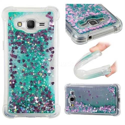 Dynamic Liquid Glitter Sand Quicksand TPU Case for Samsung Galaxy J2 Prime G532 - Green Love Heart