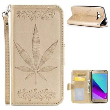 Intricate Embossing Maple Leather Wallet Case for Samsung Galaxy J2 Prime G532 - Champagne