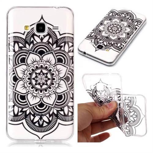 Black Mandala Flower Super Clear Soft TPU Back Cover for Samsung Galaxy J3 2016 J320