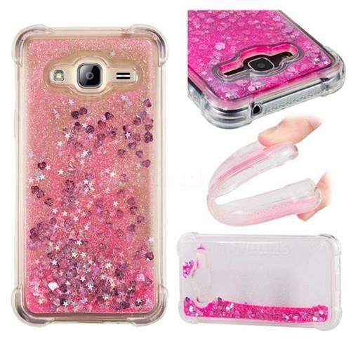 Dynamic Liquid Glitter Sand Quicksand TPU Case for Samsung Galaxy J3 2016 J320 - Pink Love Heart