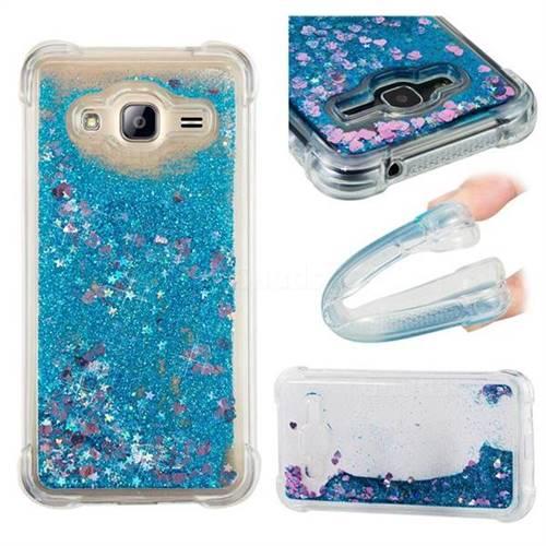 Dynamic Liquid Glitter Sand Quicksand TPU Case for Samsung Galaxy J3 2016 J320 - Blue Love Heart