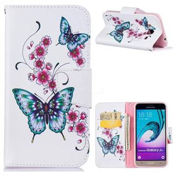Peach Butterfly Leather Wallet Case for Samsung Galaxy J3 2016 J320