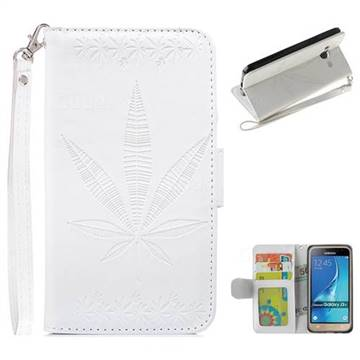Intricate Embossing Maple Leather Wallet Case for Samsung Galaxy J3 2016 J320 - White
