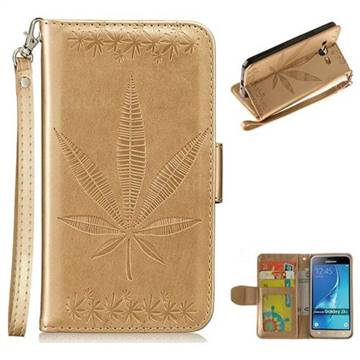 Intricate Embossing Maple Leather Wallet Case for Samsung Galaxy J3 2016 J320 - Champagne