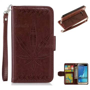 Intricate Embossing Maple Leather Wallet Case for Samsung Galaxy J3 2016 J320 - Brown