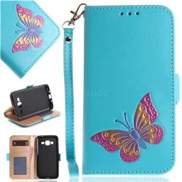 Imprint Embossing Butterfly Leather Wallet Case for Samsung Galaxy J3 2016 J320 - Sky Blue