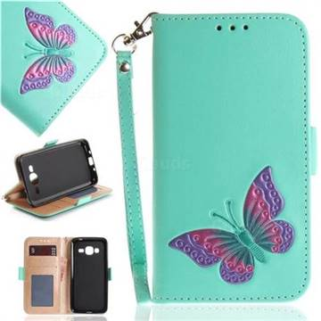 Imprint Embossing Butterfly Leather Wallet Case for Samsung Galaxy J3 2016 J320 - Mint Green